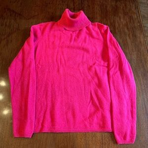 Cashmere Hot Pink Small Turtleneck Sweater